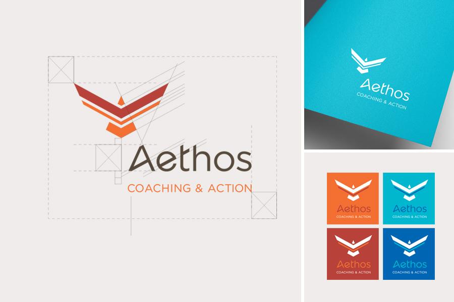 Logo Aethos Coaching & Action, zone de protection, déclinaison