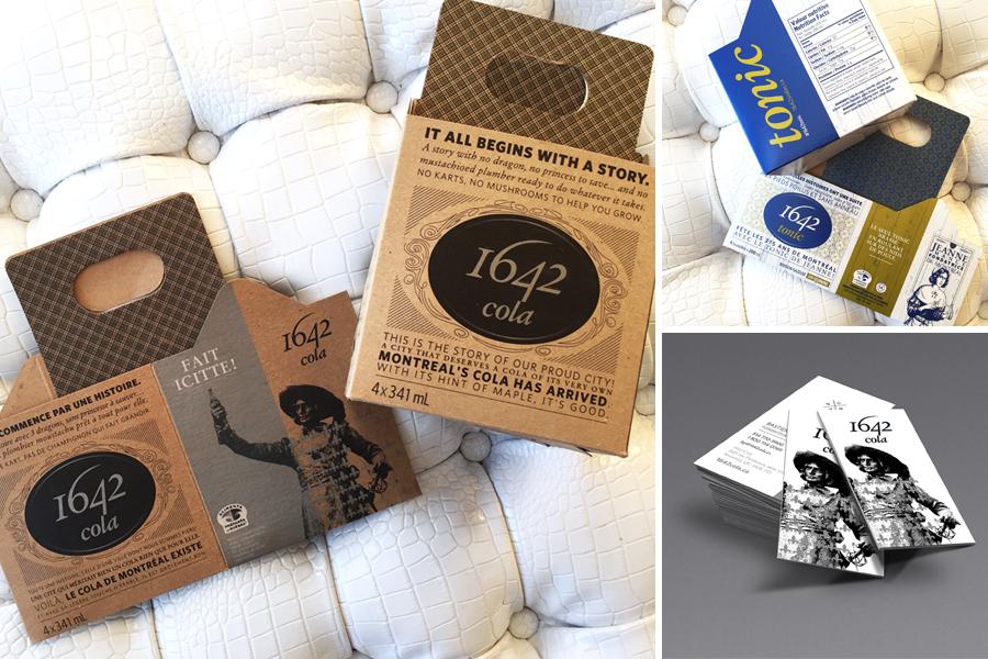 Emballage 1642 Cola et 1642 Tonic et carte professionnelle