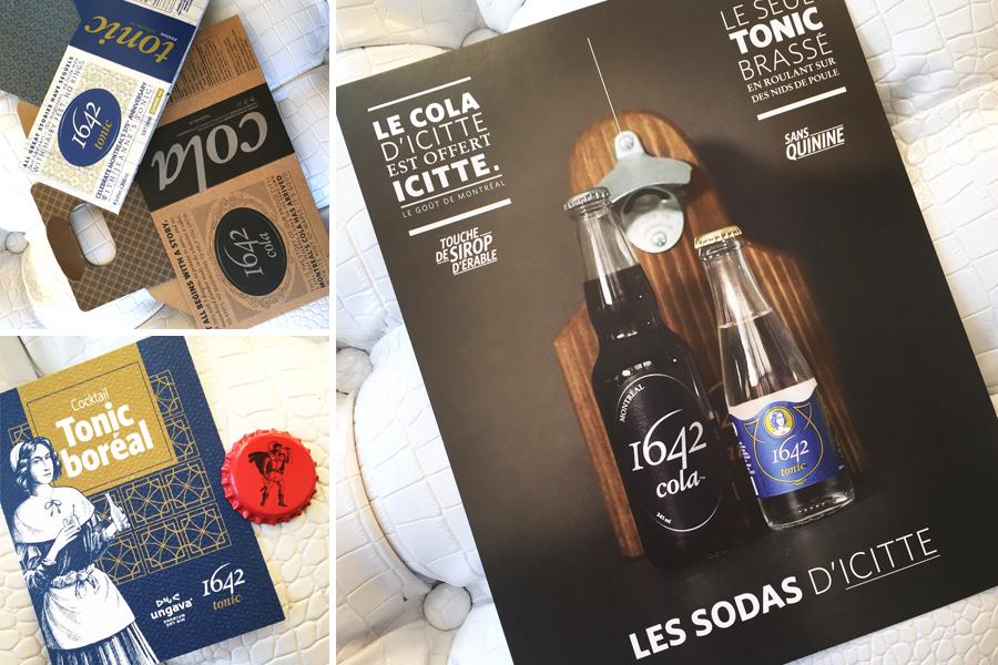 Emballage 1642 Cola et 1642 Tonic et outils promotionnels