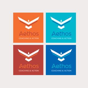 Déclinaison du logo Aethos en 4 couleurs