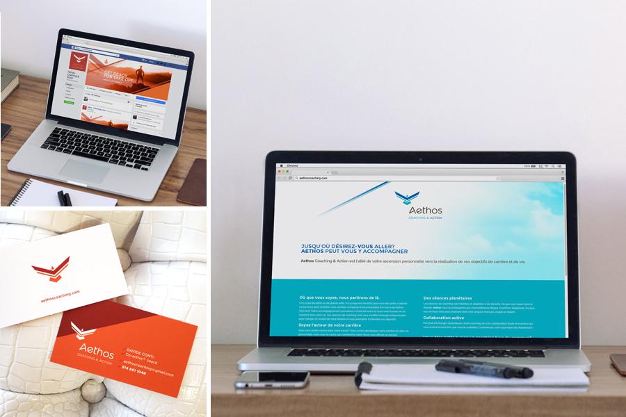 Aethos Micro site Web, Entête Facebook et carte professionnelle