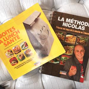 Livres de cuisine La boite à lunch et Méthode Nicolas